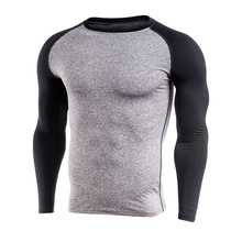 Man long sleeve compression sports gym shirts ; rash guard surf shirts