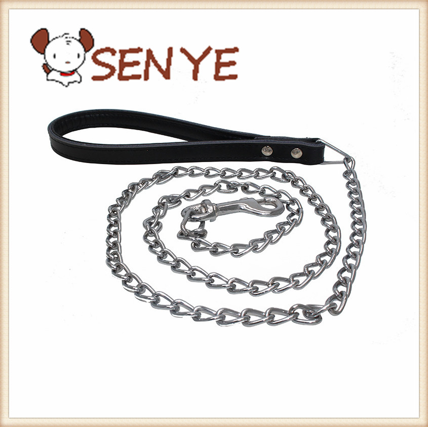 Leather handle chain traction rope dog chain dog leash collar supporting medium-sized traction metal dog pet