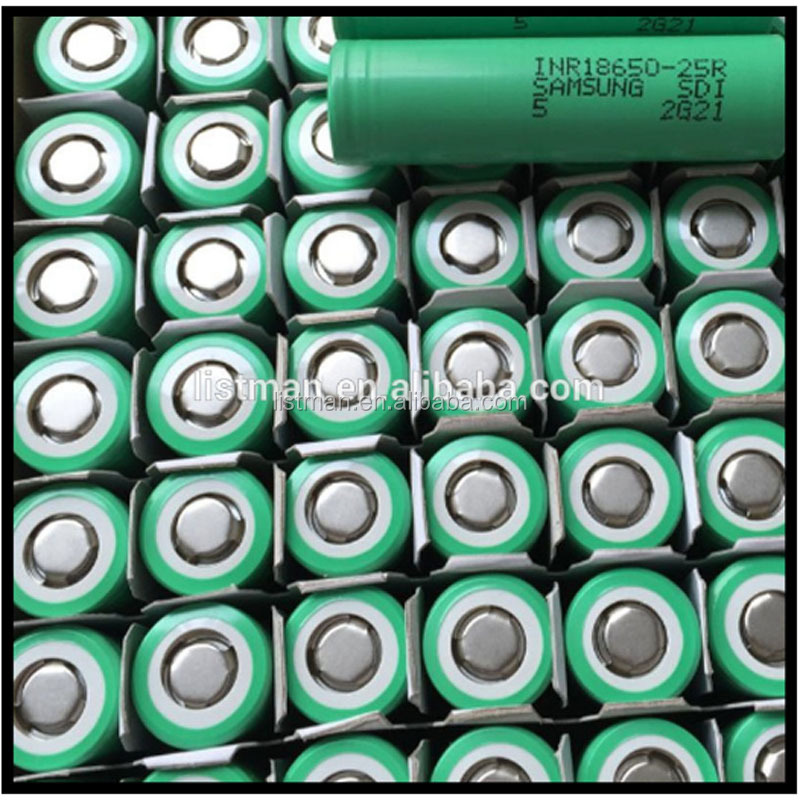 Samsung 18650 battery cell samsung 25r 3.7v 2500mah 35a discharge/ 3.7v 2500mah 18650 25r Green Power Supply E cigarette Battery