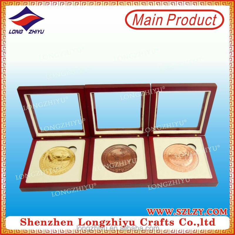 Gold sliver bronze souvenir coin medals within wood medal display cases