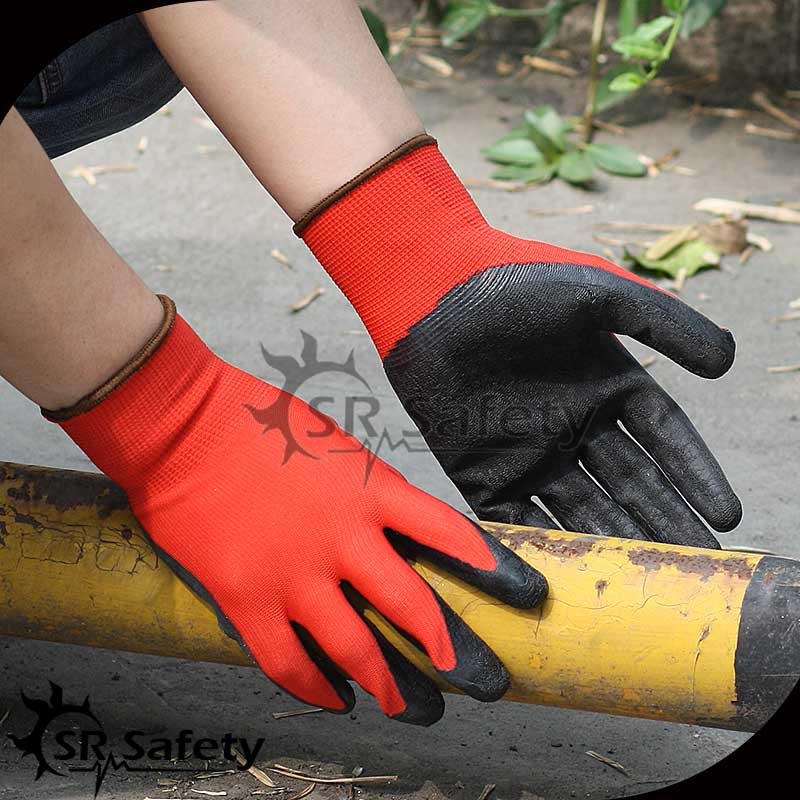 SRSAFETY 13G Red Polyester Coated latex turkey gloves work gloves/top glove/latex gloves