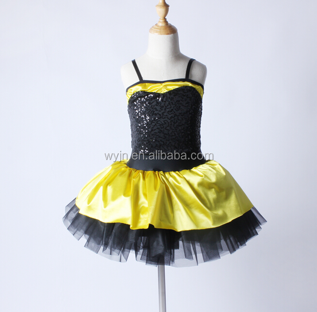 2016 New Design -kids western professional black sequin leotard yellow and black skirt ballet tutu