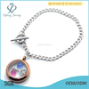 Hot sale stainless steel Cuban Chain bracelet, 316l stainless steel Silver& Chocolate floating locket bracelet