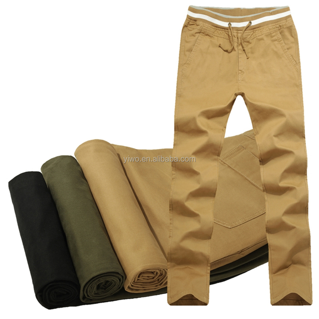 Old fashion style elastic waist chino men slim fit cargo pants