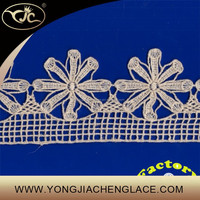 (YJC12048) Machine embroidery cotton chemical lace designs trim for curtain
