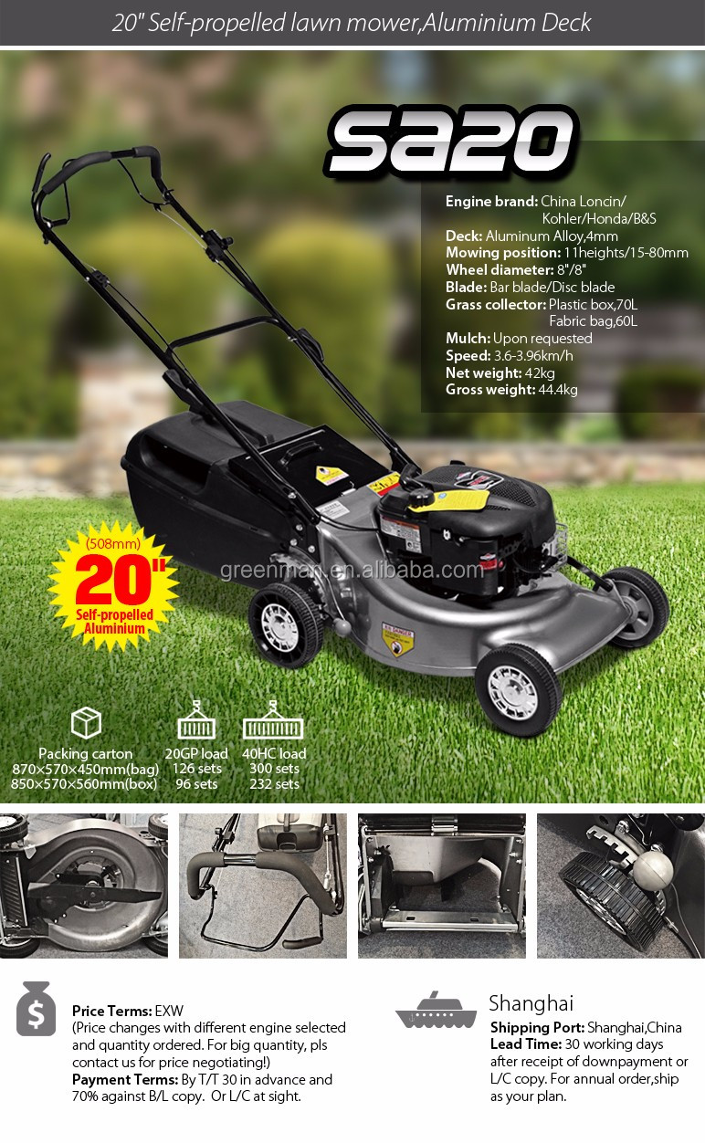 20 inch SELF-PROPELLED ALUMINIUM DECK lawn mower with Loncin engine with 4mm thickness