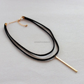 Double layer Suede Strap Choker with Metal Bar