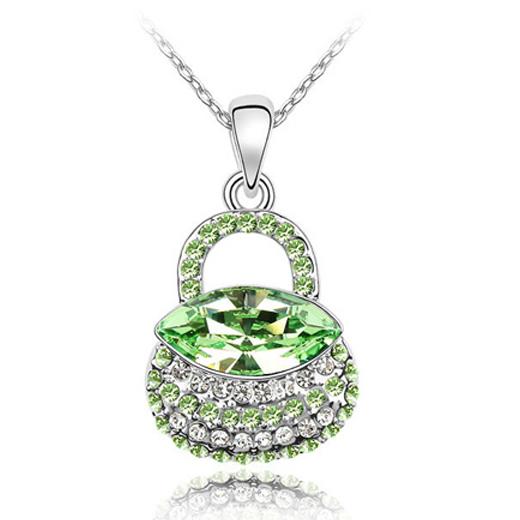 women fashion jewelry made with swarovski element crystal handbag necklace