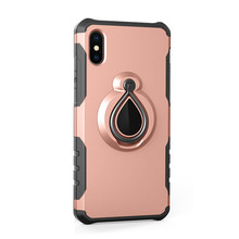 Mobile Phone Case with Ring Holder Kickstand Mobile Phone Case Ring Grip Stand with Magnetic Car Mount for iPhone X/6/7/8 Plus