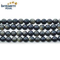 4-20mm natural loose gemstone beads golden obsidian spheres