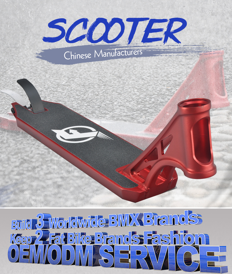 Wholesale customized high quality black red professional aluminum stunt scooter deck available for 100 110 120mm rear wheel