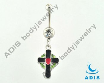 Jeweled cross banana ring, belly button ring ,navel piercing