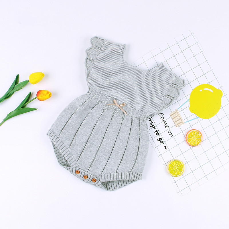 2019 New Style <strong>Baby</strong> Girl Romper Toddler Knitted Jumpsuit Sleeveless Sunsuit