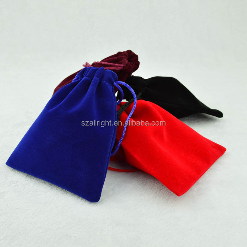 Satin Lined Velvet Drawstring Pouch, Black blue red Velvet Pouch