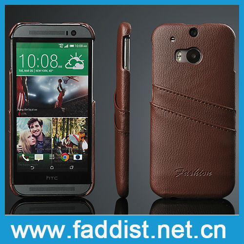 Card slot design genuine leather case for HTC m8 back cover
