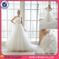 Most Popular One-shoulder Sleeve A-line Printed Puffy Skirt Wedding Dress For Ladies