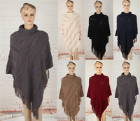 wholesale ladies fashion turtleneck sweater with fringe hand knitted cape poncho
