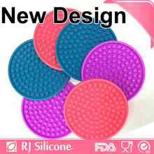RJSILICONE black silicone coasters 6 pack round silicone coaste drink coaster manufacturers in China