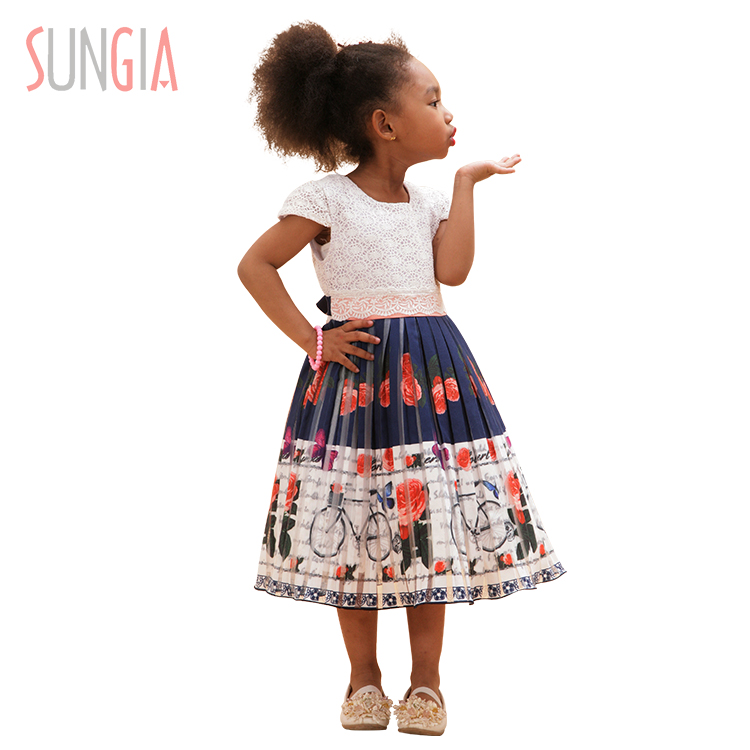 Children Frocks Designs Elegant Summer Dresses Printed Kids Girls Dresses