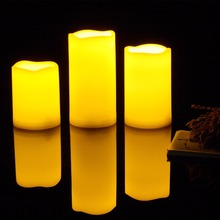 3 PCS Outdoor Weaterproof Melted Edge Flameless Candle with Timer