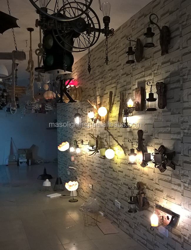 Industrial vintage wood lamp shade classic antique wall lamp for hotel bar canteen villa cheap price