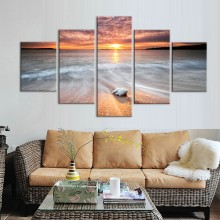 HD Print 5 pcs sunset beach boat canvas wall art painting art Home Decor Canvas Art Print seascape Painting on canvas