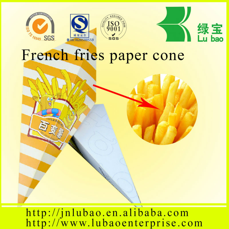 The Fried chicken bag & printing Food paper cones for french fries