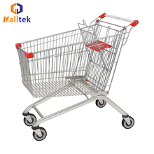 Popular Grocery Retail Store Supermarket Shopping Trolley with Coin Lock