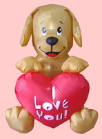 120cm/4ft Valentine inflatable dog with heart decoration with LED light decoration