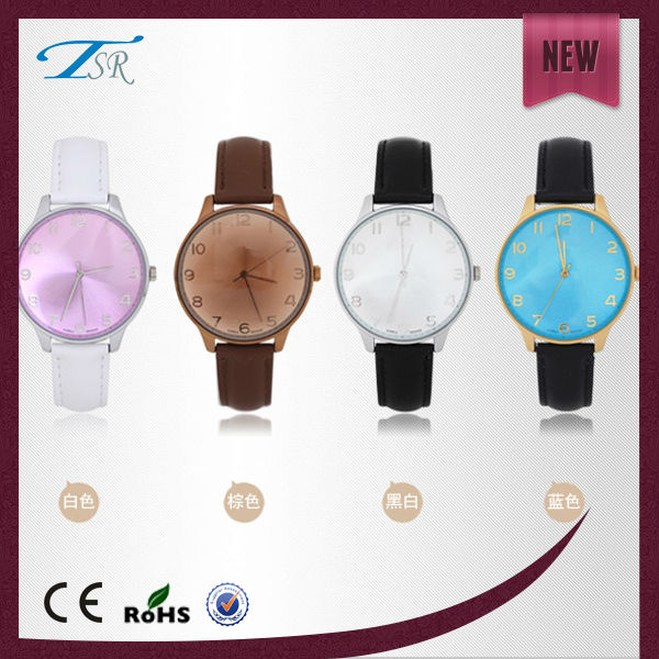 Custom waterproof 3atm printed your own logo colorful leather wrist gift watches for women