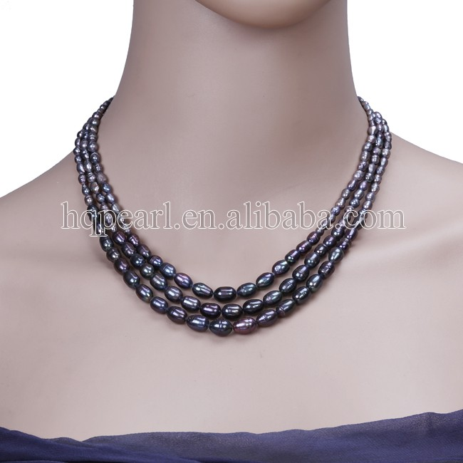 Wholesale tear drop rice pearl 3 rows real pearl women necklace