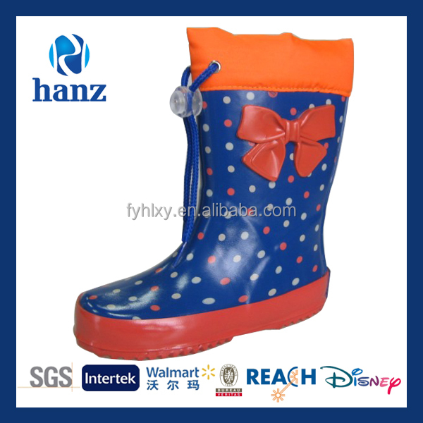 fashion girls wellies bow orange cute rubber boots for children