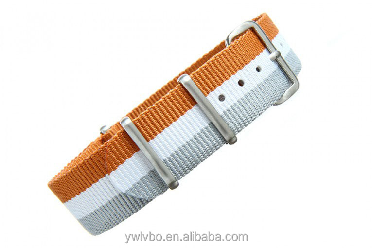 watchband promotional watch strap nylon ORANGE/WHITE/GREY PREMIUM NATO STRAP adjustable nylon strap