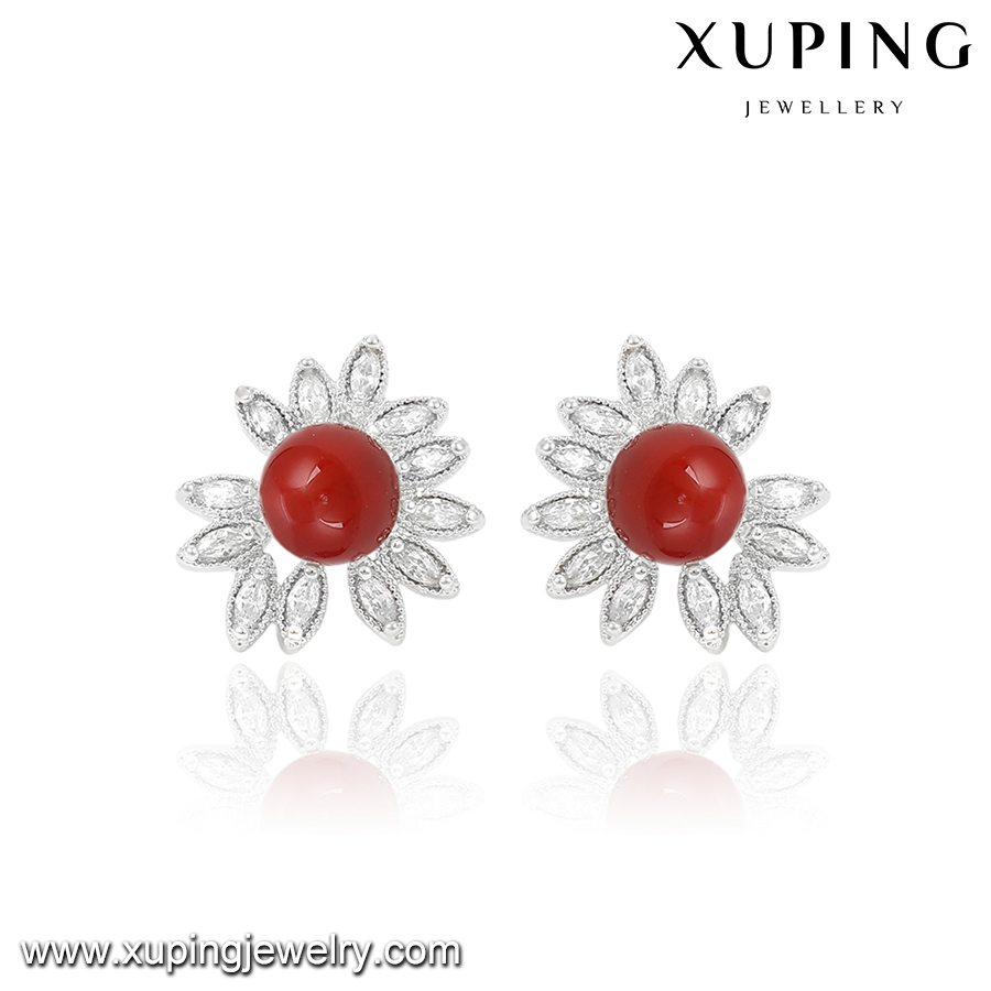 92331-cheap wholesale fashion jewelry handmade beaded red pearl earrings
