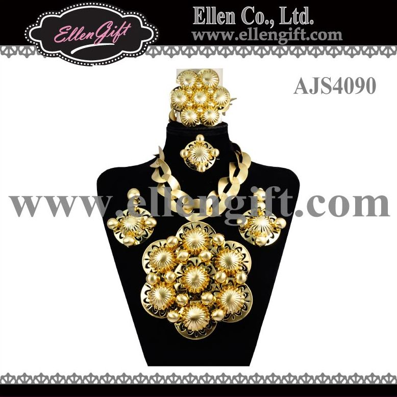 Big Dubai Gold Jewelry Set AJS4090