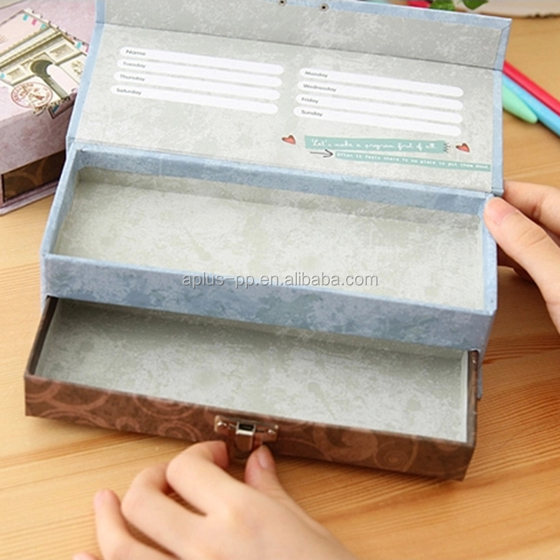 20x7.5x5.5cm Handmade Paper Boxes with Metal Lock Closure Two Layer Cardboard Pen Gift Box