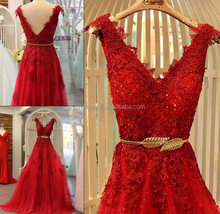 2016 new design real sample Red lace beautiful V neck evening dress #OE1012