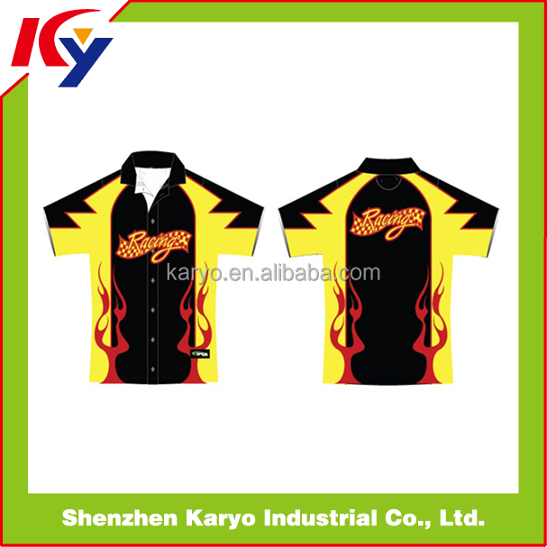 Custom Design 100% Polyester Sublimated Pit Crew Racing Shirts For Men