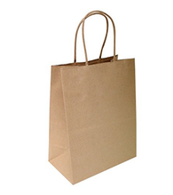 Recycle Brown Kraft Paper Bag With Drawstring Handles lunch Packaging bags with logo