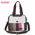 Customized women shoulder messenger bag with striped canvas cotton material lady vintage handbags wholesale