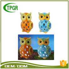 Wholesale Craft Supplies Ceramic Owl Powerful Solar Outdoor Light For Garden