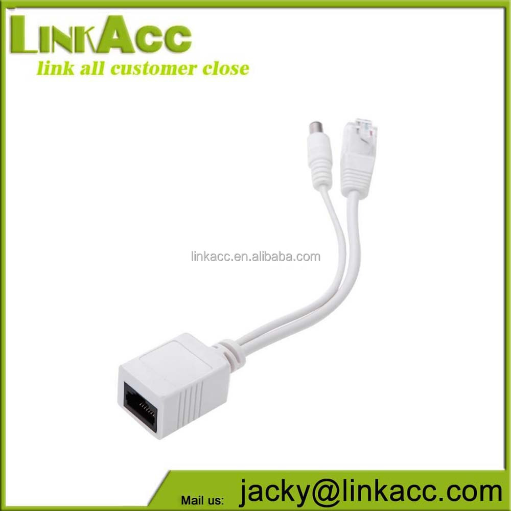 linkjc POE Injection Cable male DC plus male RJ45 to female RJ45 Power over Ethernet Adapter
