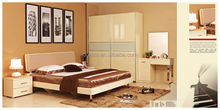 2014 minimalist bedroom set is made by E1 MDF board with High gloss spray printing