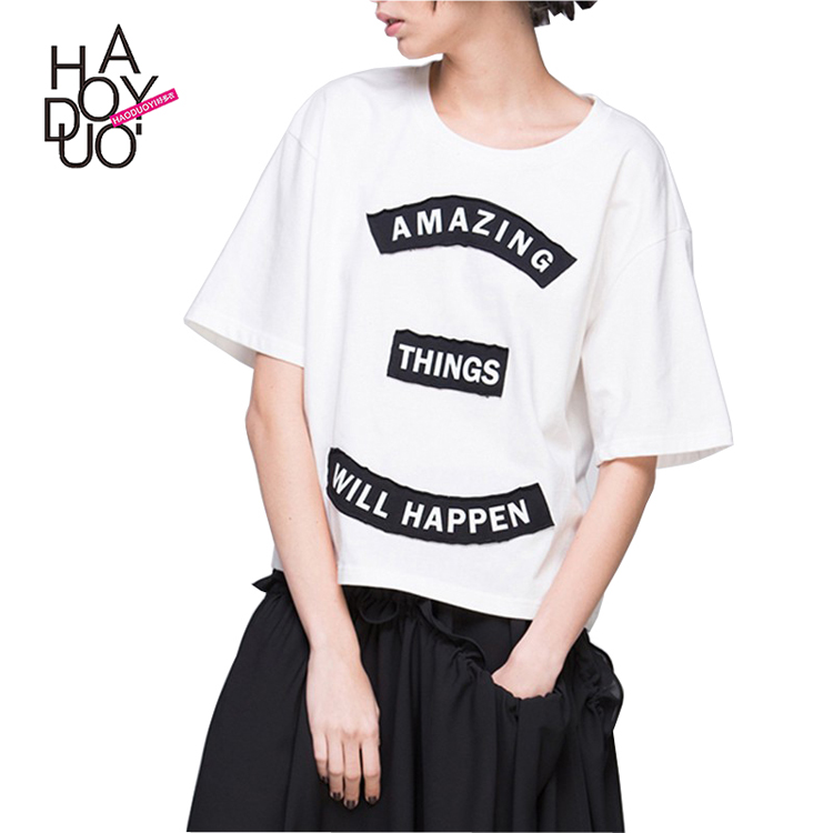HAODUOYI New Fashion Casual Loose Preppy Style Half Sleeve Letter Print Crew Neck Summer Women T-shirt for Wholesale <strong>1</strong>