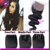 factory price 7A virgin peruvian hair silk base closure with free shipping
