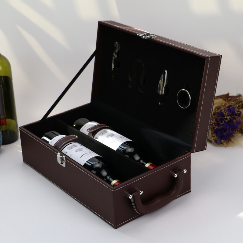 Luxury Faux Leather Gift Box Packaging,Red Wine wood Box 2bottle set suitcase