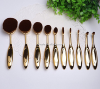 2016 EVAL hot sell 10pcs toothbrush style make up brushes set with gold handle