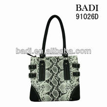 New fashion fake snake skin animal print handbag female bags casual shoulder bag wholesale