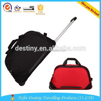 high quality two wheels polyester travel trolley leisure duffel bag