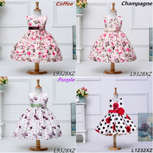 Korean Fashion Girl Style Dresses Different Colors Baby 1Year Old Party Flowers Girl Wedding Dress